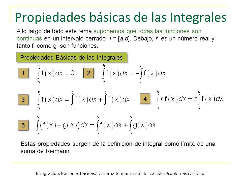 Propiedades básicas de las Integrales Propiedades Básicas de las Integrales A lo largo de todo este tema suponemos que todas las funciones son continu