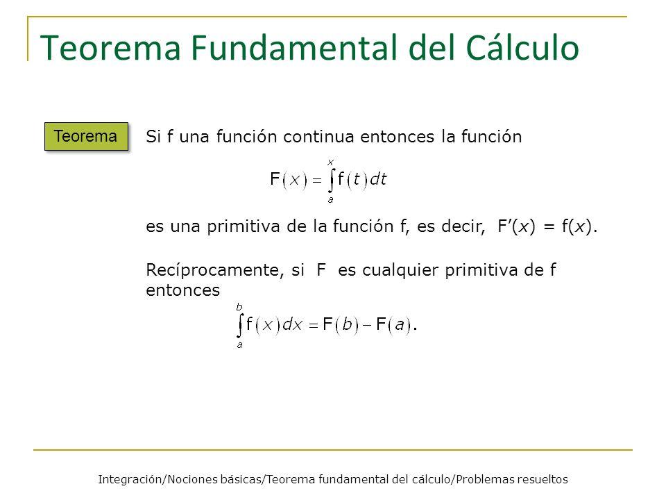 Teorema Fundamental del Cálculo Teorema Si f una función continua entonces la función es una primitiva de la función f, es decir, F(x) = f(x). Recípro