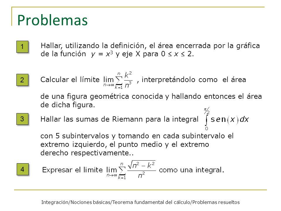 Problemas 5 5 6 6 7 7 Encontrar el error en el siguiente cálculo de 8 8 Sea f una función continua tal que Determinar f(1).