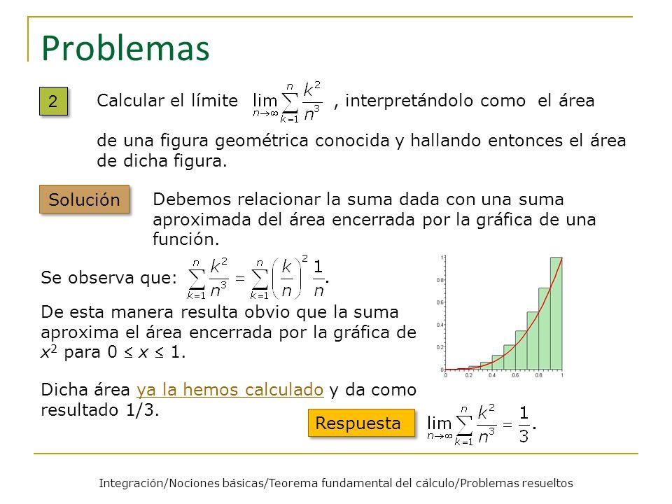 Problemas 2 2 Calcular el límite, interpretándolo como el área de una figura geométrica conocida y hallando entonces el área de dicha figura. Solución