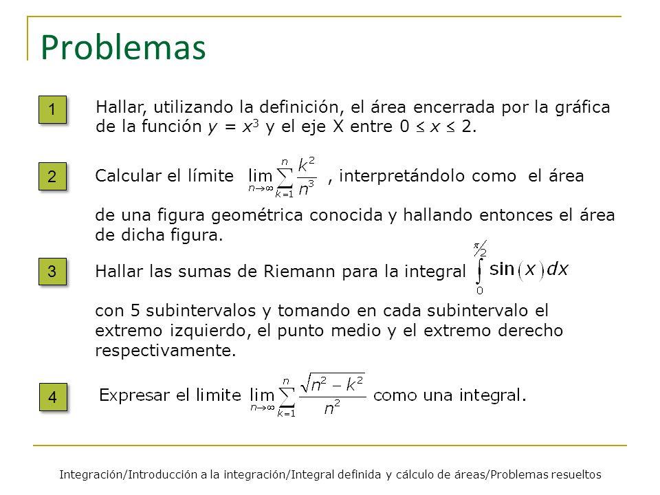 Hallar las sumas de Riemann para la integral con 5 subintervalos y tomando en cada subintervalo el extremo izquierdo, el punto medio y el extremo dere