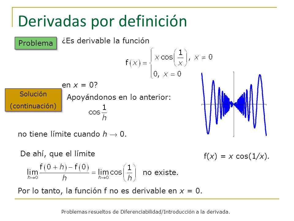 Derivadas por definición Problemas resueltos de Diferenciabilidad/Introducción a la derivada. Problema Solución (continuación) Solución (continuación)