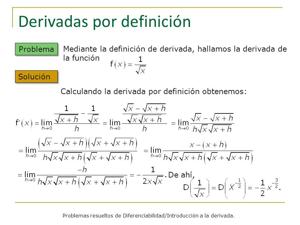 Derivadas por definición Problemas resueltos de Diferenciabilidad/Introducción a la derivada. Problema Calculando la derivada por definición obtenemos