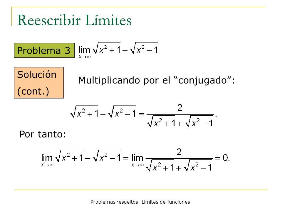 Problemas resueltos. Límites de funciones. Reescribir Límites Problema 3 Solución (cont.) Multiplicando por el conjugado: Por tanto: