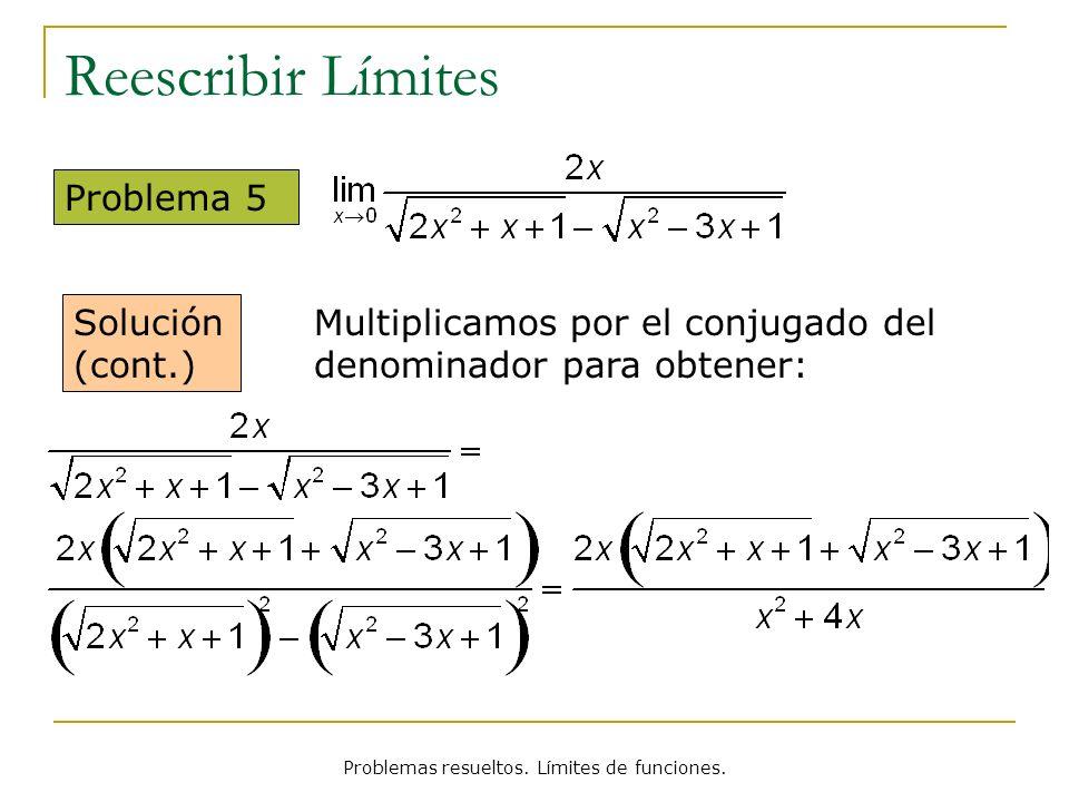 Problemas resueltos. Límites de funciones. Reescribir Límites Problema 5 Solución (cont.) Multiplicamos por el conjugado del denominador para obtener: