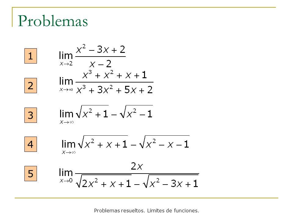 Problemas resueltos. Límites de funciones. Reescribir Límites Problema 5 Solución Reescrito: