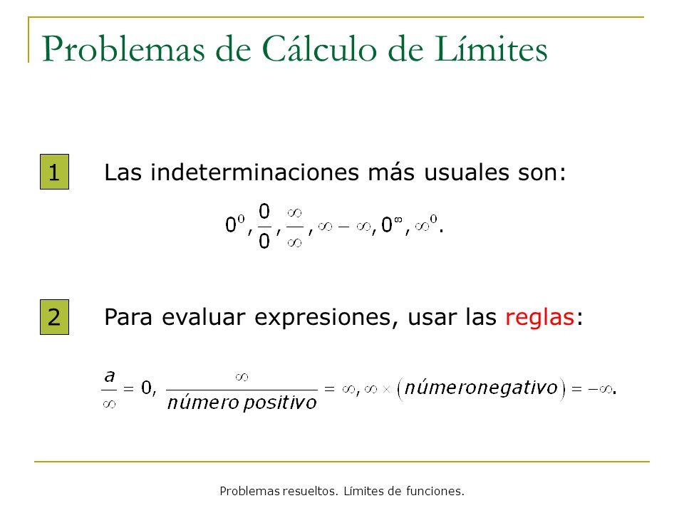Problemas resueltos. Límites de funciones. Problemas de Cálculo de Límites Para evaluar expresiones, usar las reglas: 2 Las indeterminaciones más usua