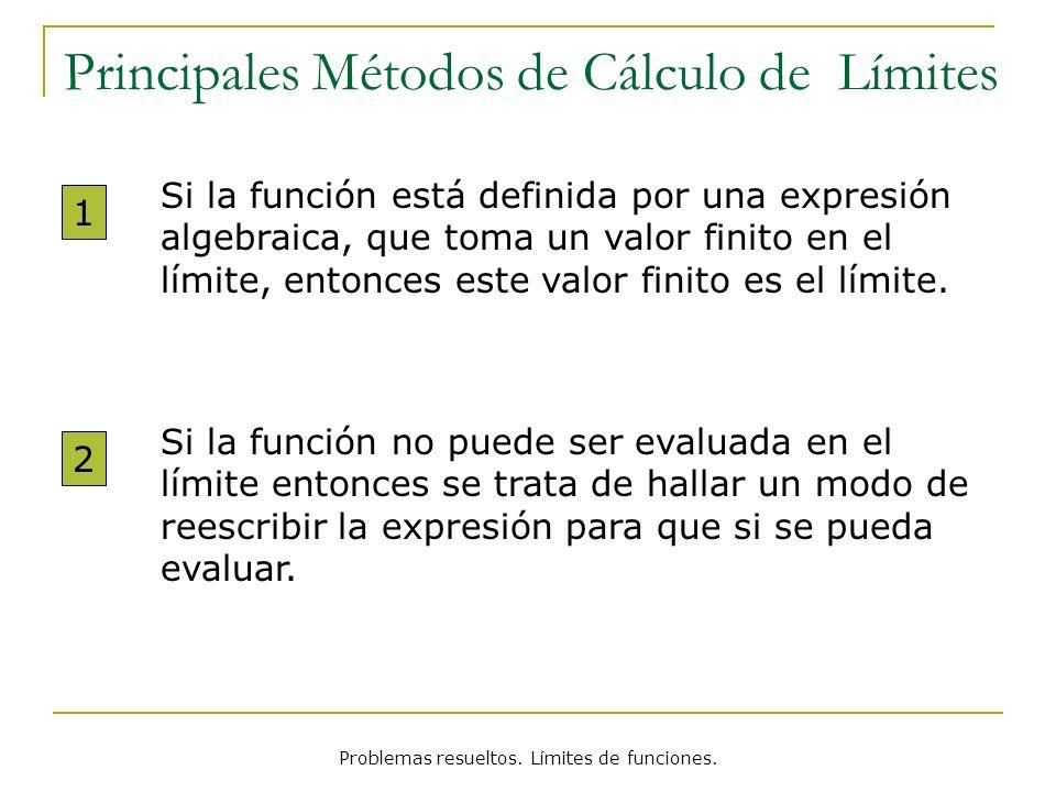 Problemas resueltos. Límites de funciones. Principales Métodos de Cálculo de Límites Si la función está definida por una expresión algebraica, que tom