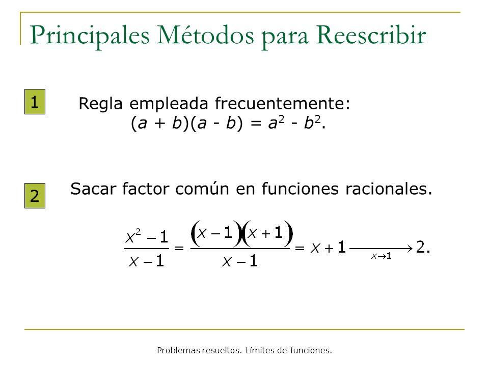 Problemas resueltos. Límites de funciones. Principales Métodos para Reescribir Sacar factor común en funciones racionales. 2 Regla empleada frecuentem
