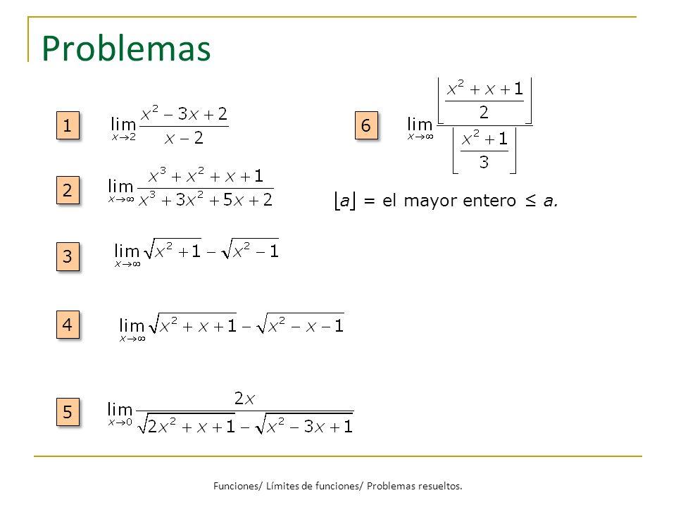 Problemas 1 1 2 2 3 3 4 4 5 5 6 6 a = el mayor entero a. Funciones/ Límites de funciones/ Problemas resueltos.