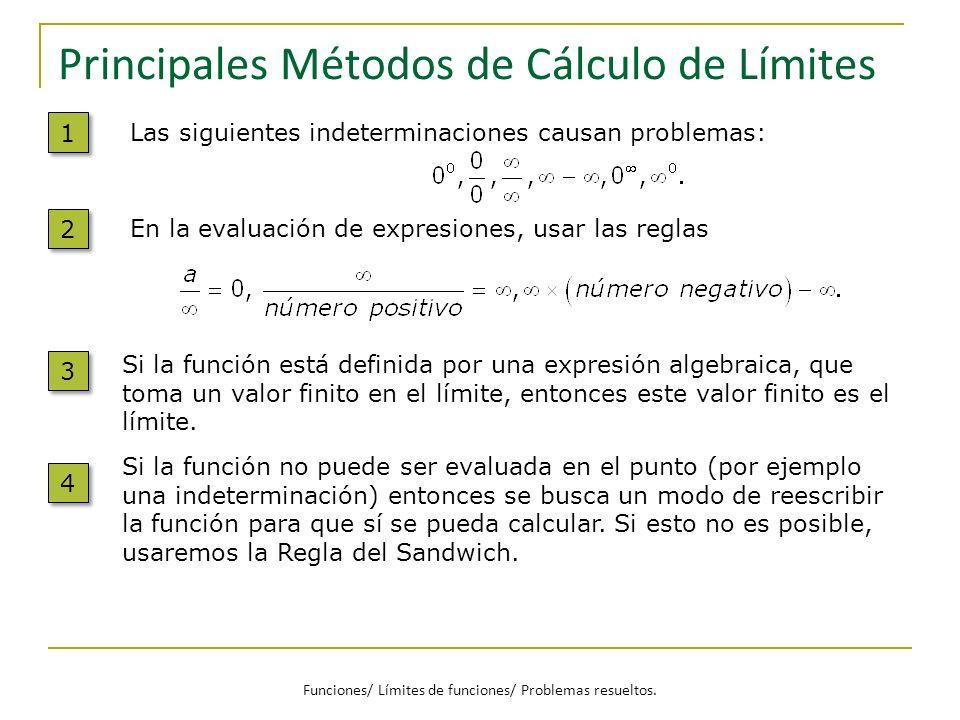 Principales Métodos de Cálculo de Límites Si la función está definida por una expresión algebraica, que toma un valor finito en el límite, entonces es