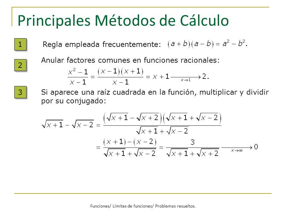 Principales Métodos de Cálculo Si aparece una raíz cuadrada en la función, multiplicar y dividir por su conjugado: 3 3 Anular factores comunes en func