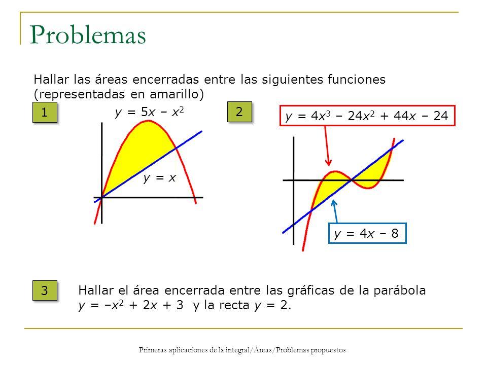 Problemas Hallar las áreas encerradas entre las siguientes funciones (representadas en amarillo) 1 1 y = 5x – x 2 y = x y = 4x 3 – 24x 2 + 44x – 24 y