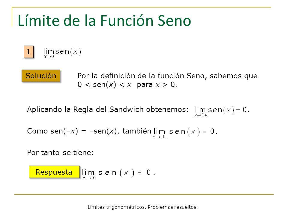 Límites trigonométricos. Problemas resueltos. Límite de la Función Seno 1 1 Solución Por la definición de la función Seno, sabemos que 0 0. Aplicando