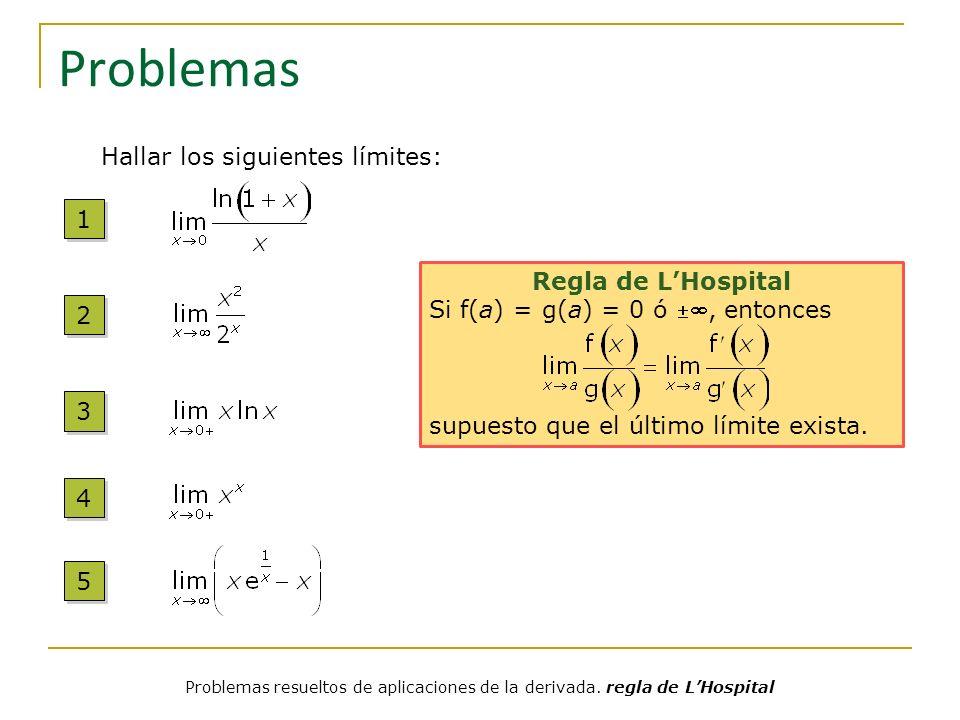 Problemas 1 1 2 2 3 3 4 4 5 5 Regla de LHospital Si f(a) = g(a) = 0 ó, entonces supuesto que el último límite exista. Hallar los siguientes límites: P