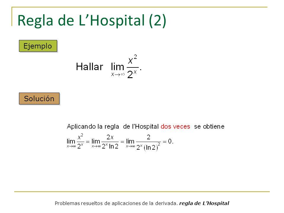 Regla de LHospital (3) Reescribiendo el límite así se puede aplicar la regla de lHospital Ejemplo Solución Problemas resueltos de aplicaciones de la derivada.