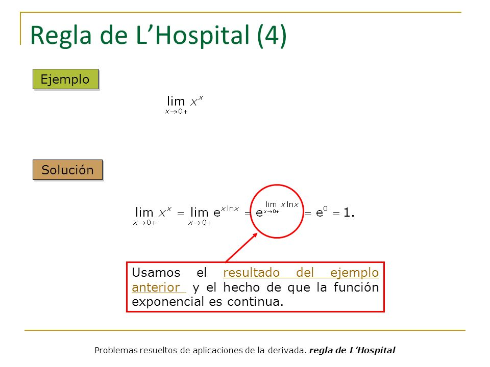 Regla de LHospital (5) Escribiéndolo así se puede aplicar la regla de LHospital Ejemplo Solución Problemas resueltos de aplicaciones de la derivada.