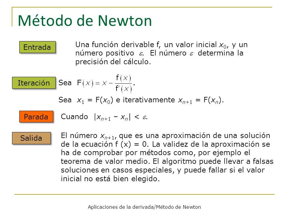Problemas Aplicaciones de la derivada/Método de Newton 1 1 Aplicar el método de Newton para aproximar con 5 decimales correctos.