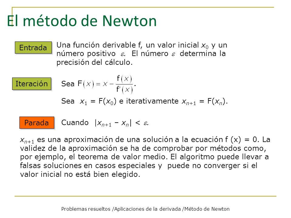 Problemas Problemas resueltos /Aplicaciones de la derivada /Método de Newton 1 1 Aplicar el método de Newton para aproximar la raíz del polinomio 6x 8 – 31x 6 + 40x 4 – x 2 – 6 que está en el intervalo [0,1].
