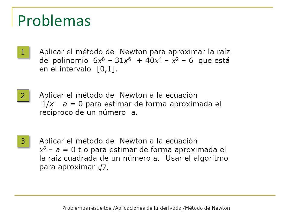 Aproximando Raíces Problemas resueltos /Aplicaciones de la derivada /Método de Newton Problema Solución La función de iteración F es La función F para usar en la iteración es complicada así como la elección del valor inicial.