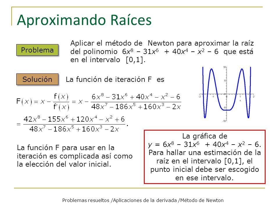 Problemas resueltos /Aplicaciones de la derivada /Método de Newton Problema Solución La función F de iteración es Para a = 0.5, se tiene: x 0 = 0.81048 x 1 = 0.71118 x 2 = 0.70712 x 3 = 0.70711.
