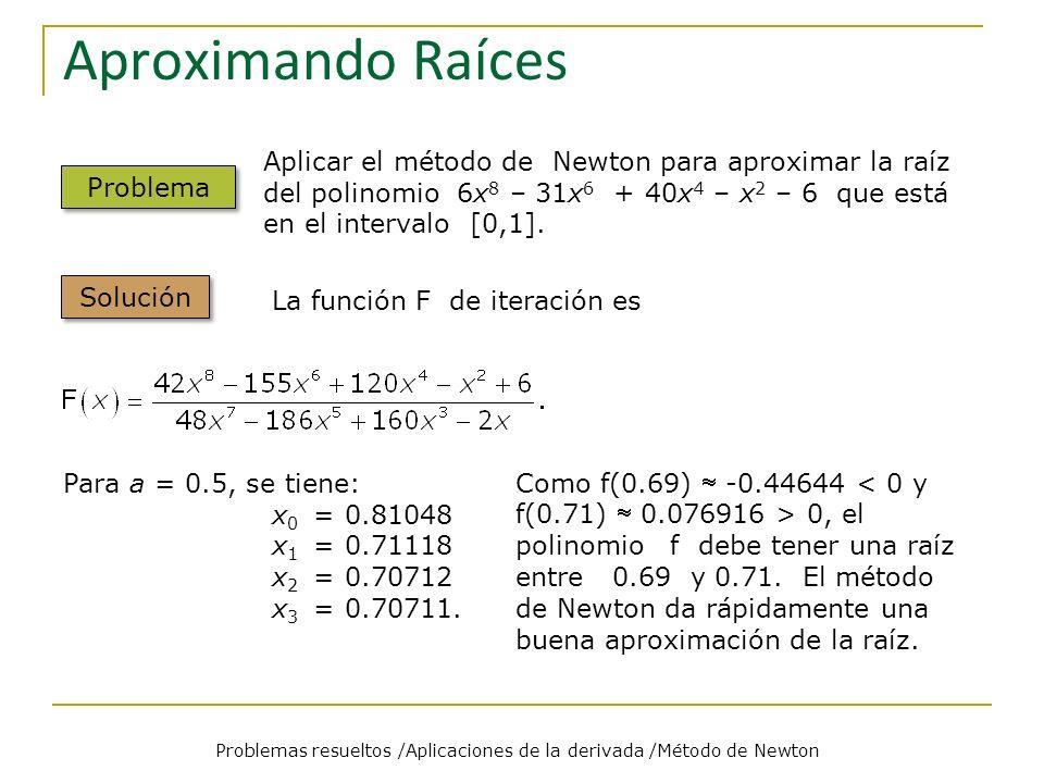Cálculo de recíprocos Problemas resueltos /Aplicaciones de la derivada /Método de Newton Problem Solution La función F de iteración es Para a = 3, se tiene: x 0 = 0.5 x 1 = 0.25 x 2 = 0.3125 x 3 = 0.33203125 x 4 = 0.33332824 x 5 = 0.33333333.