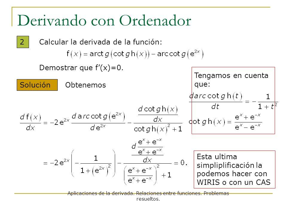 Aplicaciones de la derivada. Relaciones entre funciones. Problemas resueltos. Derivando con Ordenador 2 Solución Calcular la derivada de la función: D