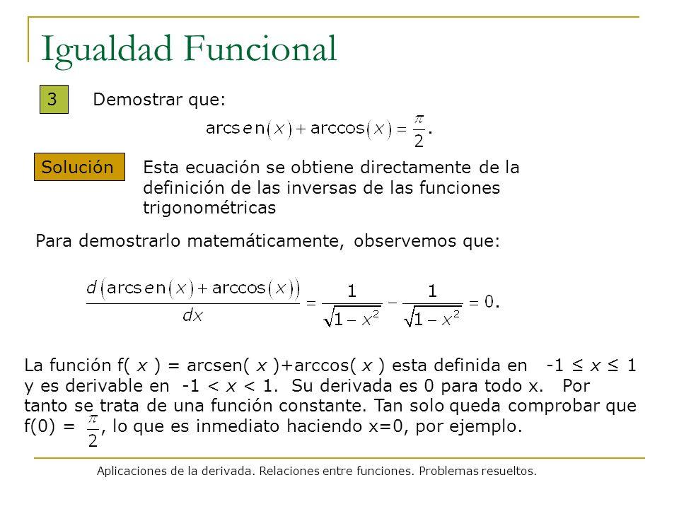 Aplicaciones de la derivada. Relaciones entre funciones. Problemas resueltos. Igualdad Funcional 3 Solución Demostrar que: La función f( x ) = arcsen(