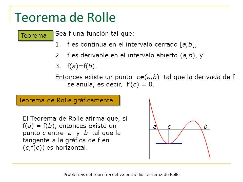 Teorema de Rolle Teorema Sea f una función tal que: 1.f es continua en el intervalo cerrado [a,b], 2.f es derivable en el intervalo abierto (a,b), y 3