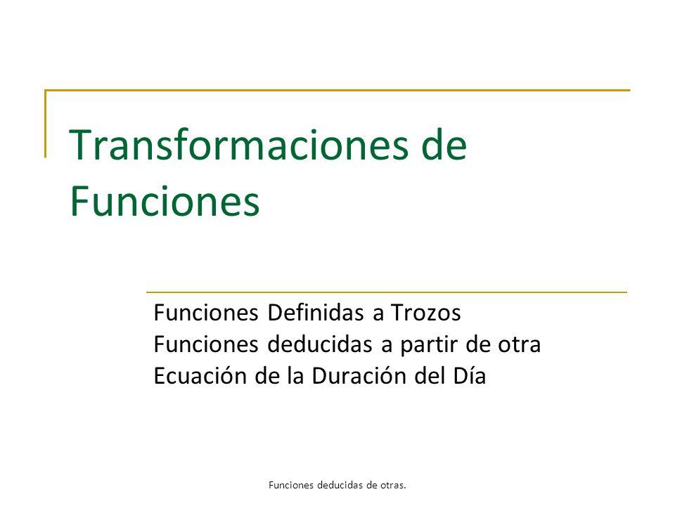 Transformaciones de Funciones Funciones Definidas a Trozos Funciones deducidas a partir de otra Ecuación de la Duración del Día Funciones deducidas de
