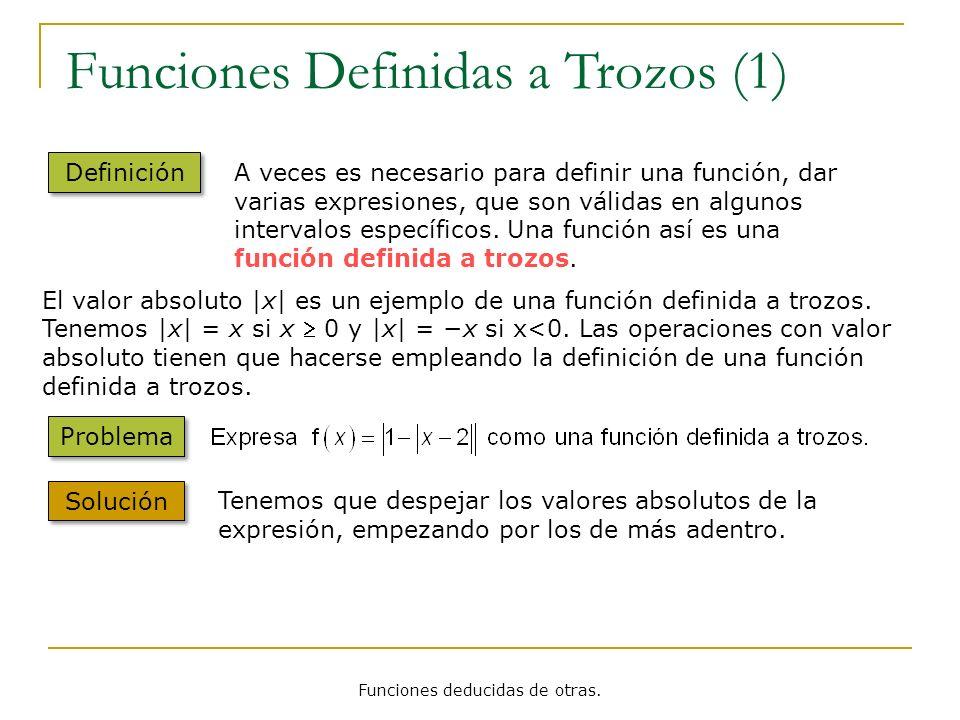 Funciones Definidas a Trozos (1) Definición A veces es necesario para definir una función, dar varias expresiones, que son válidas en algunos interval
