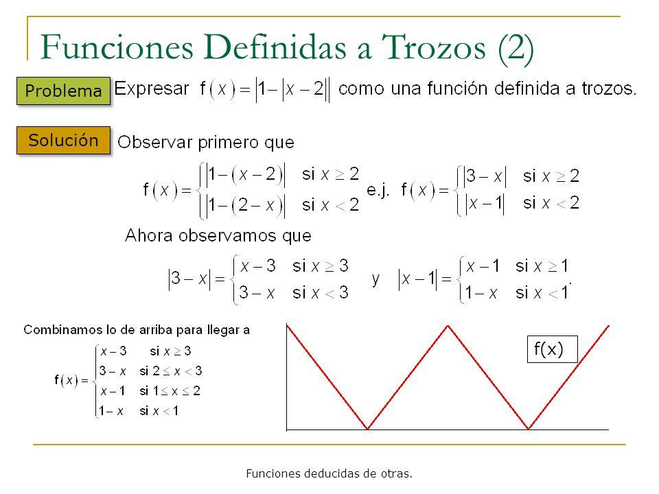 Funciones deducidas de otras. Funciones Definidas a Trozos (2) Problema Solución f(x)