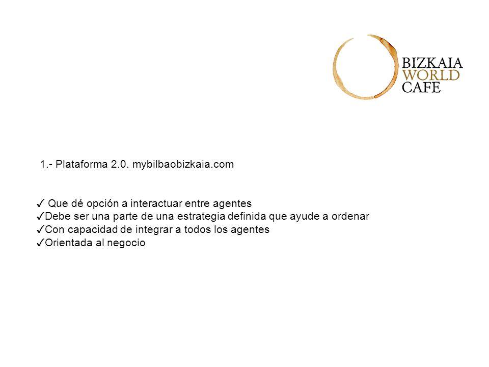 1.- Plataforma 2.0. mybilbaobizkaia.com Que dé opción a interactuar entre agentes Debe ser una parte de una estrategia definida que ayude a ordenar Co