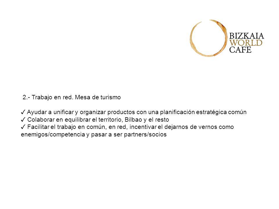 2.- Trabajo en red. Mesa de turismo Ayudar a unificar y organizar productos con una planificación estratégica común Colaborar en equilibrar el territo