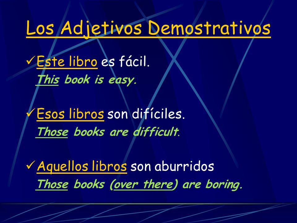 Los adjetivos Singular Plural Los Adjetivos Demostrativos este esta ese esa aquel aquella estos estas esos esas aquellos aquellas this that that (over