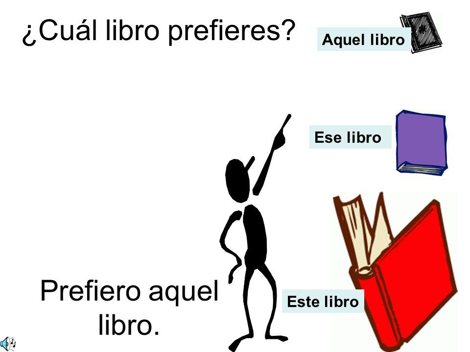 ¿Cuál libro prefieres? Prefiero ese libro. Aquel libro Ese libro Este libro