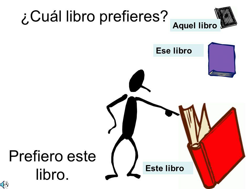 ¿Cuál libro prefieres? Prefiero este libro. Ese libro Aquel libro Este libro