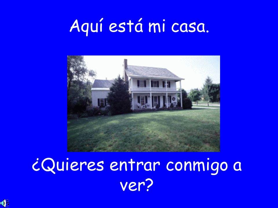 Aquí está mi casa. ¿Quieres entrar conmigo a ver?