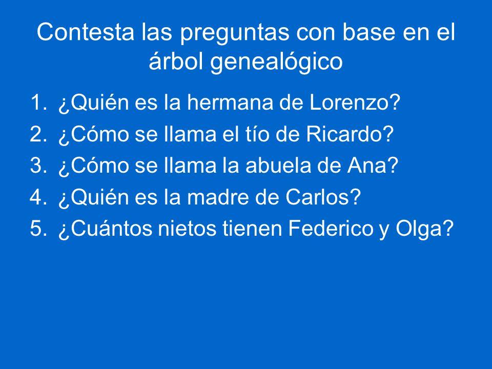 Contesta las preguntas con base en el árbol genealógico 1.¿Quién es la hermana de Lorenzo? 2.¿Cómo se llama el tío de Ricardo? 3.¿Cómo se llama la abu