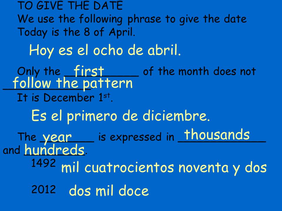 TO GIVE THE DATE We use the following phrase to give the date Today is the 8 of April.