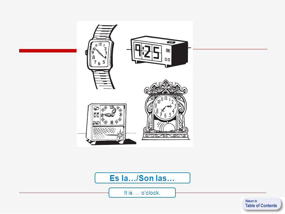 Es la…/Son las… It is … o'clock.