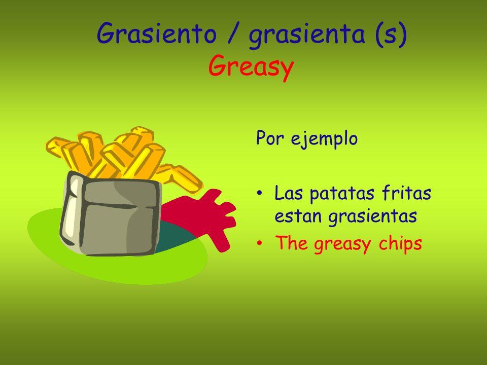 Grasiento / grasienta (s) Greasy Por ejemplo Las patatas fritas estan grasientas The greasy chips