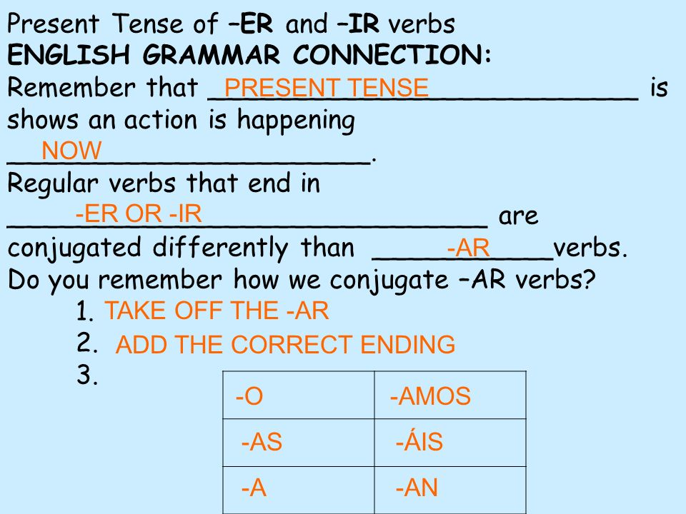 For _________________________________ we follow the same instructions, except we use different verb endings.