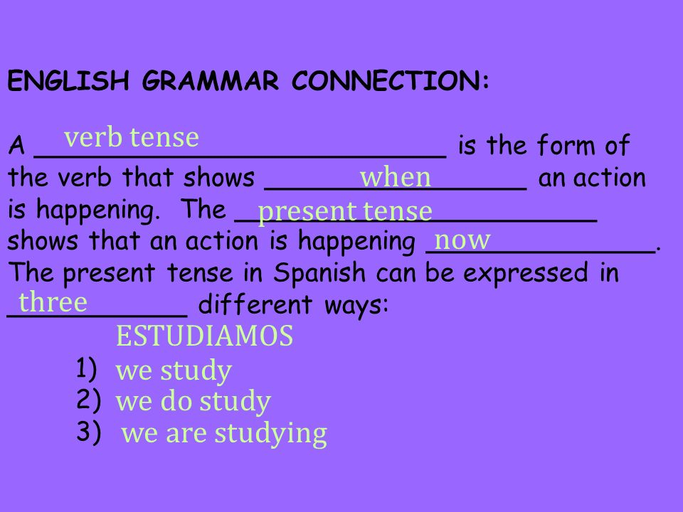 ENGLISH GRAMMAR CONNECTION: A _________________________ is the form of the verb that shows ________________ an action is happening. The ______________
