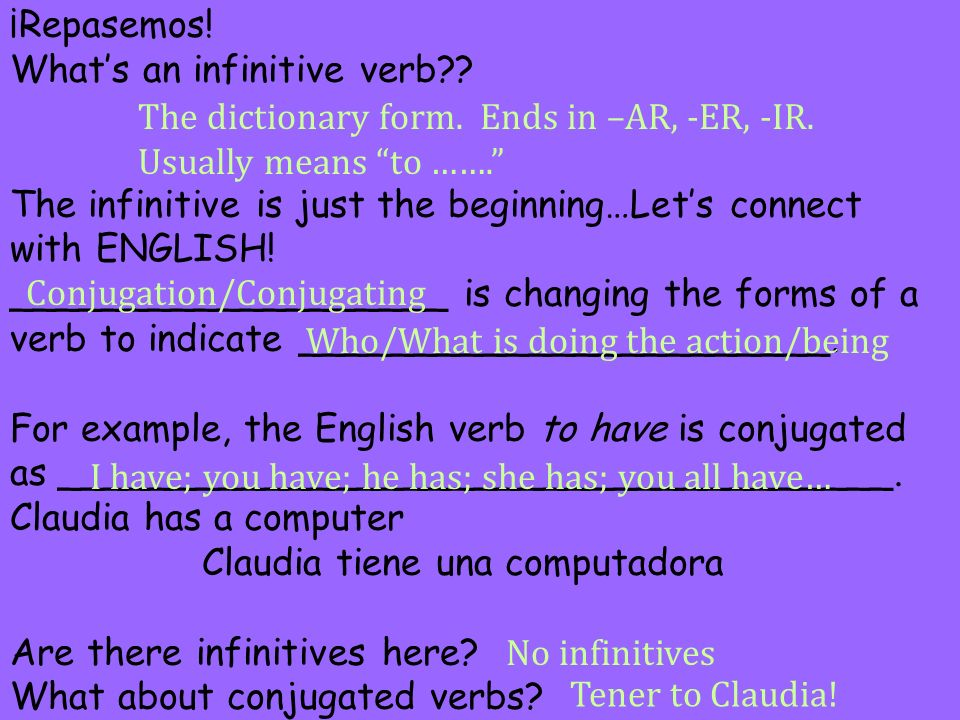 ¡Repasemos! Whats an infinitive verb?? The infinitive is just the beginning…Lets connect with ENGLISH! ___________________ is changing the forms of a
