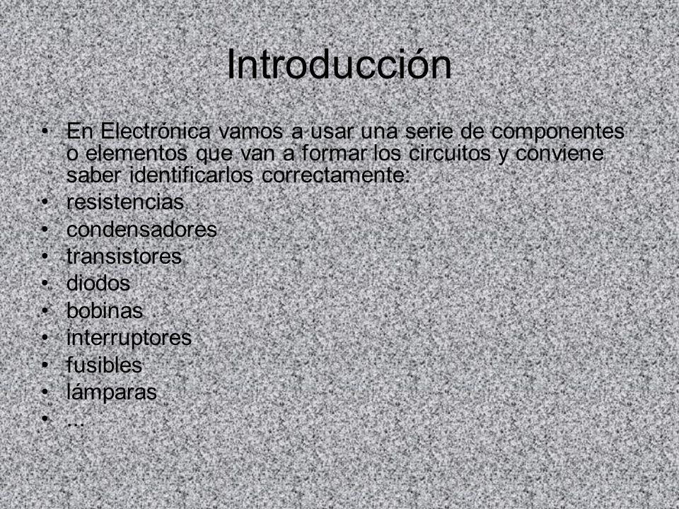 Introducción En Electrónica vamos a usar una serie de componentes o elementos que van a formar los circuitos y conviene saber identificarlos correctam