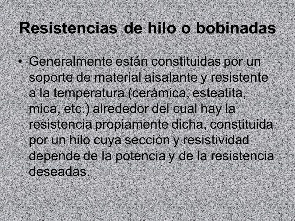Resistencias de hilo o bobinadas Generalmente están constituidas por un soporte de material aisalante y resistente a la temperatura (cerámica, esteati