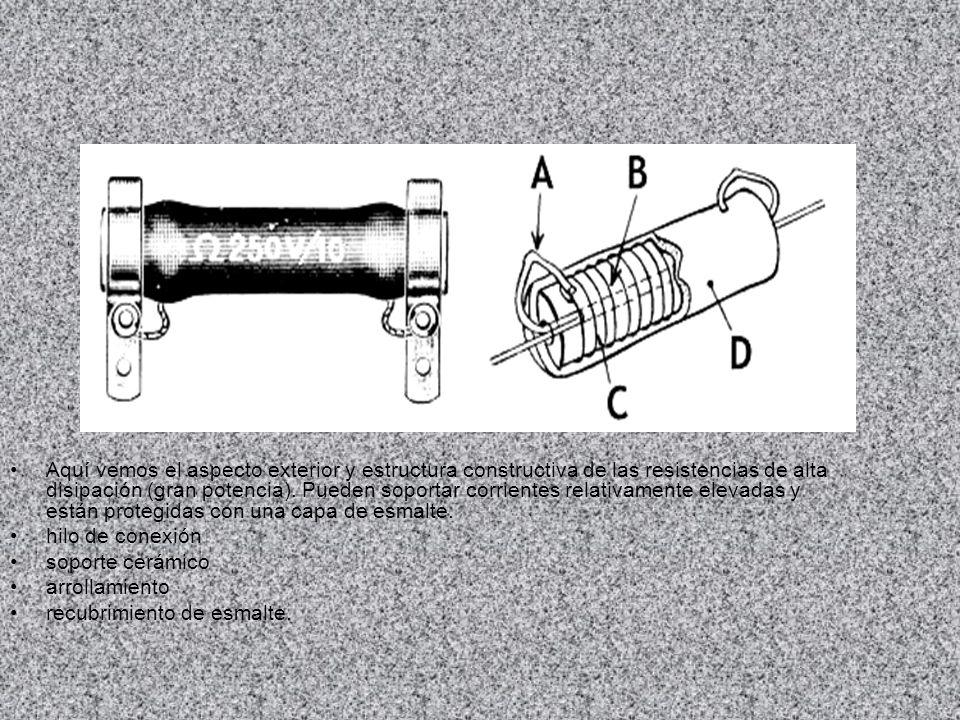 Aquí vemos otros tipos de resistencias bobinadas, de diferentes tamaños y potencias, con su valor impreso en el cuerpo.