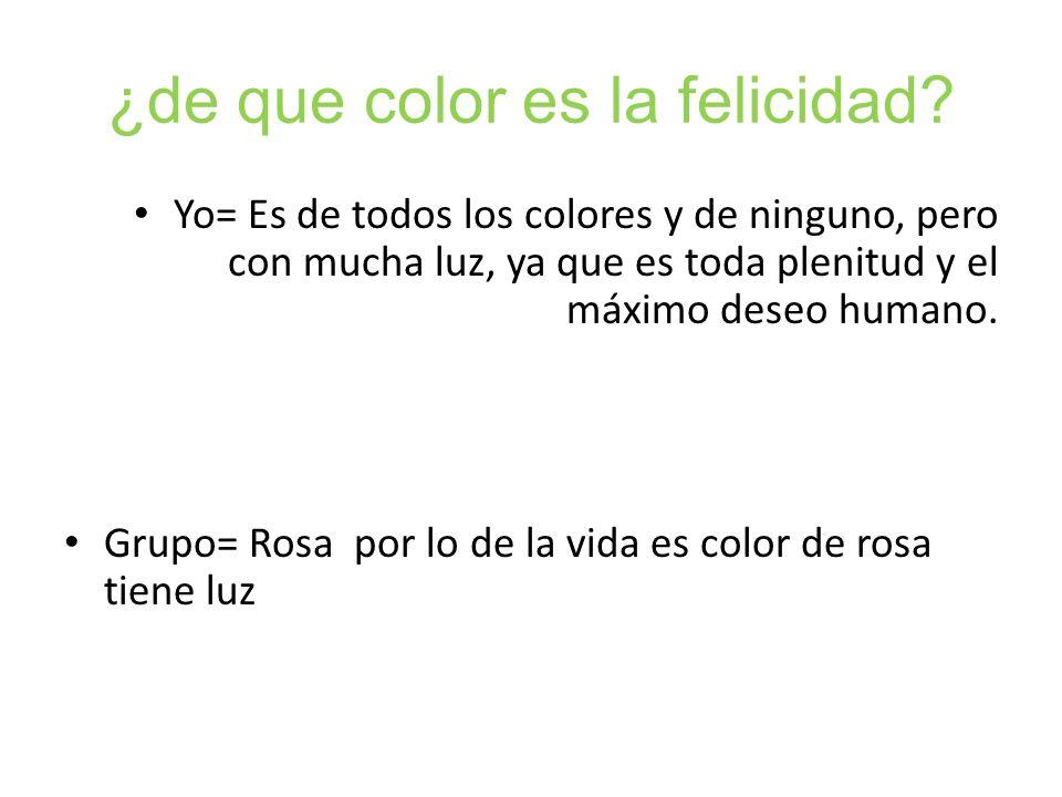 ¿de que color es la felicidad? Yo= Es de todos los colores y de ninguno, pero con mucha luz, ya que es toda plenitud y el máximo deseo humano. Grupo=