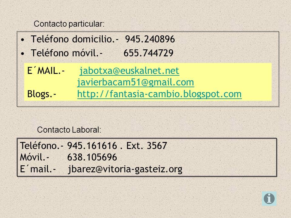 Contacto particular: E´MAIL.- jabotxa@euskalnet.netjabotxa@euskalnet.net javierbacam51@gmail.com Blogs.- http://fantasia-cambio.blogspot.comhttp://fan